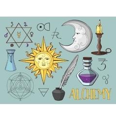 Set of trendy Alchemy symbols vector image