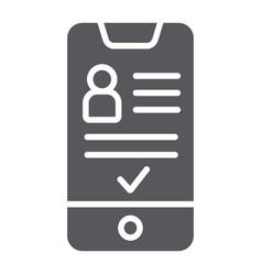 Add friend on smartphone glyph icon phone vector