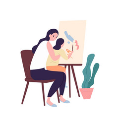 Adorable mother and daughter painting or drawing vector