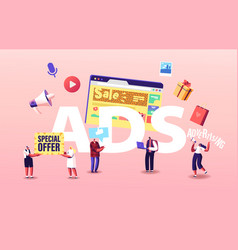 Ads concept promoter character advertising vector