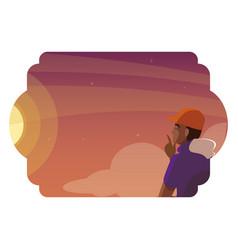Afro man contemplating horizon sky sunset scene vector