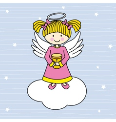 Angel on a cloud vector
