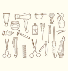 barber shop collection drawing accessories vector image
