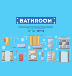Bathroom furniture renovation poster in flat style vector