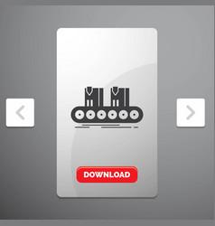 belt box conveyor factory line glyph icon in vector image