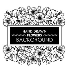 Black and white hand drawn floral frame vector