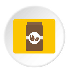 Brown coffee jar icon circle vector