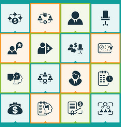 Business management icons set with cash flow vector