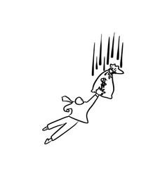 businessman jumping to grab money bag falling vector image