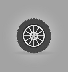 car wheel flat icon on gray background vector image