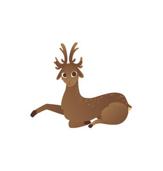 cartoon horned reindeer vector image