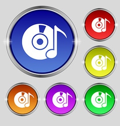 CD or DVD icon sign Round symbol on bright vector
