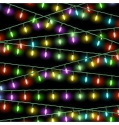 Christmas lights on black background vector image