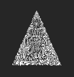christmas tree of holidays lettering vector image