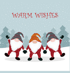 christmas winter card with gnome vector image