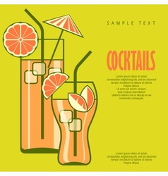 Cocktails in glasses on green vector image