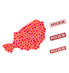 Collage of red mosaic map of niger and grunge vector