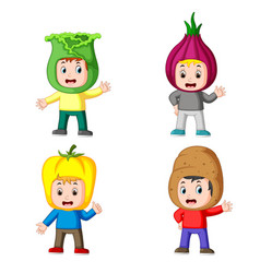 collection of the children using the vegetable vector image