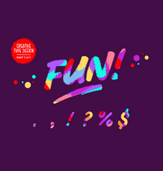 colourful typeset kids font in cartoon vector image