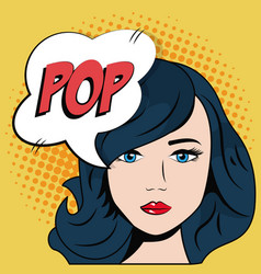 Comic blue hair girl bubble speech pop art vector
