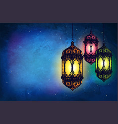Cover card with lanterns on a dark background vector