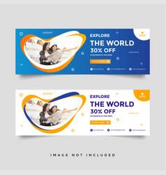 Creative travel banner template collection vector