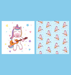 cute unicorn playing guitar and pattern ready for vector image