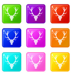 Deer antler set 9 vector
