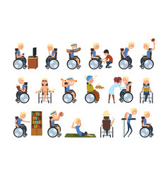 Disabled man in wheelchair in different situations vector