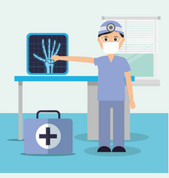 doctor in consulting room x ray diagnostic and vector image