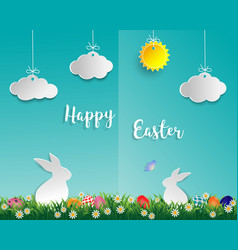 Easter eggs on green grass with white rabbit vector