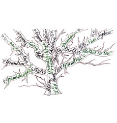 family tree hand drawn calligraphy vector image