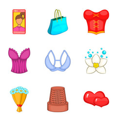 Feminine gender icons set cartoon style vector