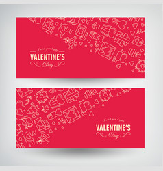 festive valentines day romantic horizontal banners vector image