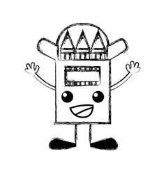 Figure happy colored pencil kawaii with arms and vector