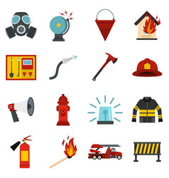 fireman tools set flat icons vector image