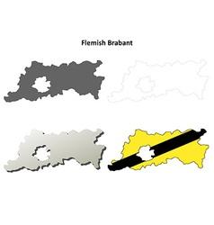 Flemish Brabant outline map set - Flemish version vector