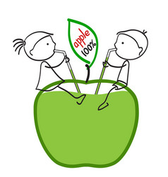 Girl and boy drinking apple juice vector