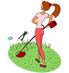 Girl mows the lawn vector