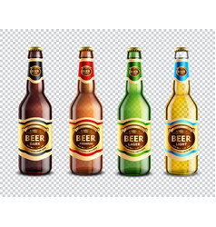 Glass beer bottles transparent background vector