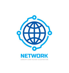 global network - logo design technology co vector image