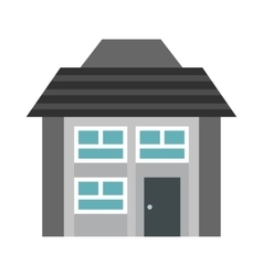 Gray two storey house icon flat style vector image