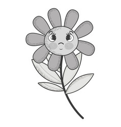 Grayscale kawaii flower plant surprised face and vector