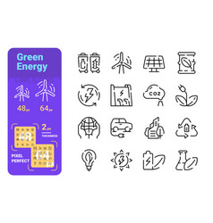 green energy line icons set vector image