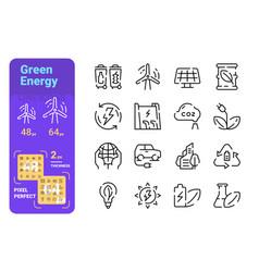 Green energy line icons set vector