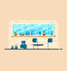 Gym interior banner vector