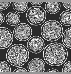 hand drawn citrus seamless pattern oranges and vector image