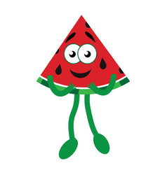 happy cartoon watermelon vector image