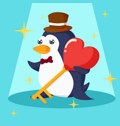 happy valentines day with penguin and heart key vector image