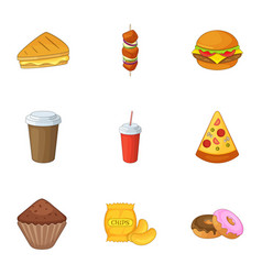 harmful fast food icons set cartoon style vector image